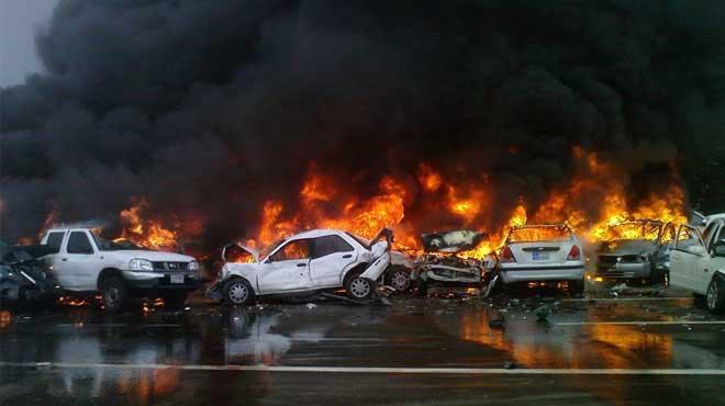 حادث مروع على الطريق الدائري بين 13 سيارة